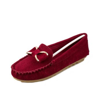 D82 New Women's Classical Driving Peas Rubber Sole Casual Cross Suede Loafer Shoes Color Wine Red - 3