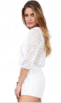 Deep V-Neck 3/4 Sleeve White Causal Jumpsuit Romper Casual Beach L1068 - 4