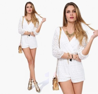 Deep V-Neck 3/4 Sleeve White Causal Jumpsuit Romper Casual Beach L1068 - 3