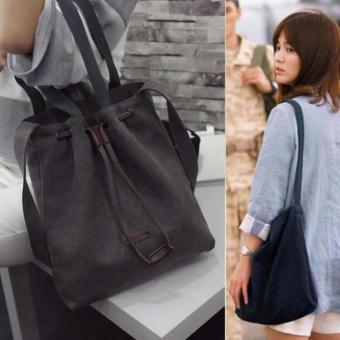 Descendants of the sun 2016 New fashion women canvashandbagCrossbody shoulder bag bucket tote bags (Black)
