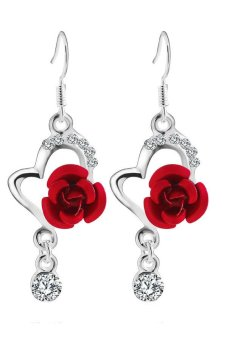 Diamond Rose Pendant Earrings (Red)