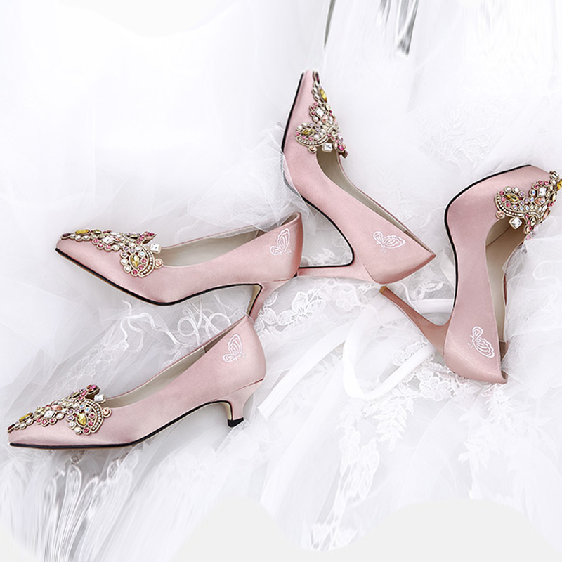 Diamond Wedding Plus Sized Fine With Bridal Shoes Wedding Shoes (Champagne  Color 11cm Waterproof