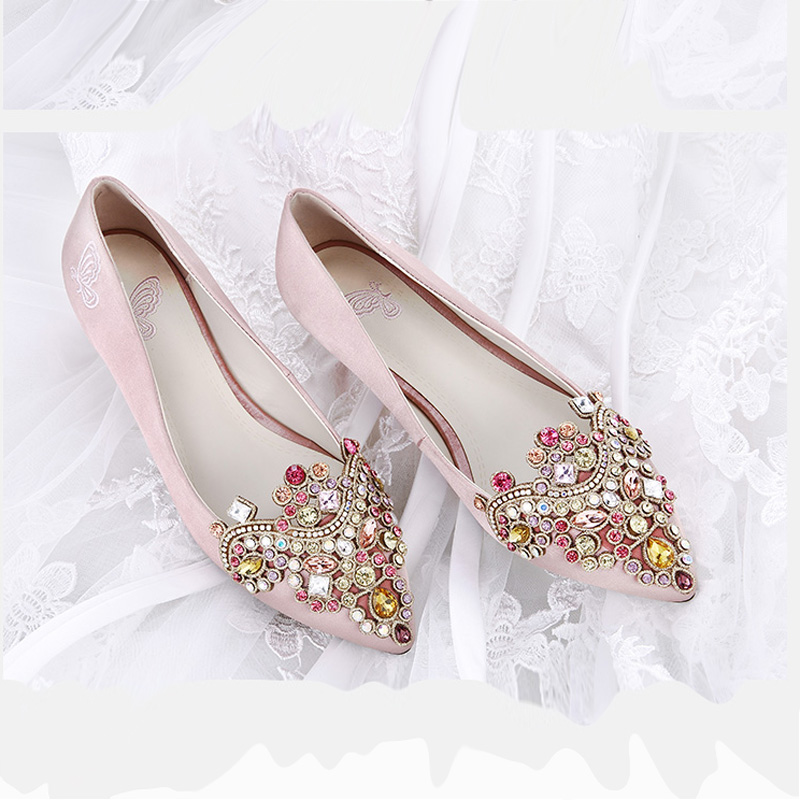 Diamond Wedding Plus Sized Fine With Bridal Shoes Wedding Shoes (Champagne  Color 3cm Collection