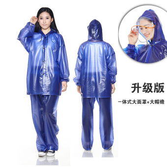 Diaoyu outdoor split adult men and women raincoat rain pants (S801 female-blue-with Hood mask)