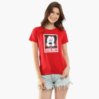 Disney Mickey Mouse Girls Teens Graphic Tee (Red)