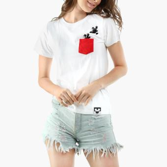Disney Mickey Mouse Girls Teens Graphic Tee (White)