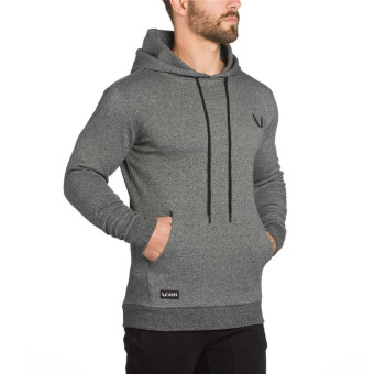 Dr. muscle autumn New style training hooded hoodie (Gray)