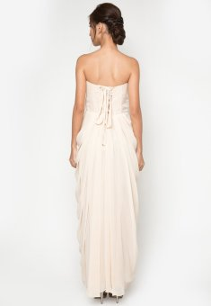 Draped Long Gown (Beige) - picture 3