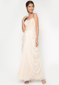 Draped Long Gown (Beige)