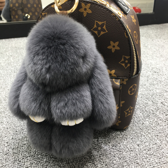 Dress dead rabbit fur velvet bunny school bag car key chain (Dark gray color (Regular edition 18 cm))