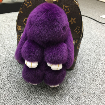 Dress dead rabbit fur velvet bunny school bag car key chain (Deep Purple (Regular edition 18 cm))