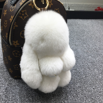 Dress dead rabbit fur velvet bunny school bag car key chain (White (general version of 18 cm))