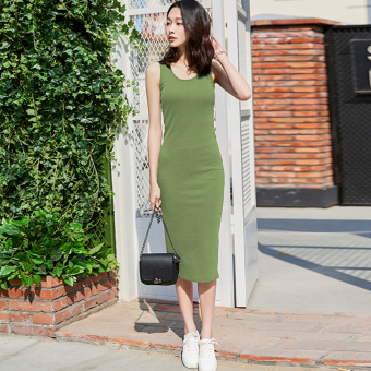 Duoka Korean-style female Slim fit slimming Dungaree dress Dress (Dark green) (Dark green)