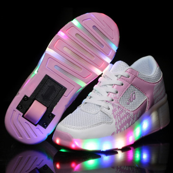 Durable Single Wheel LED Lighted Roller Skate Heelys Sneakers Shoes- Intl