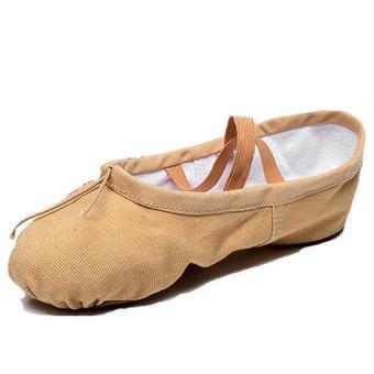 Elastic Canvas Ballet Slippers Yoga Dance Shoes for Kids (Khaki - 3
