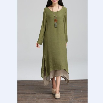 Elegant Boho Hippie Women Long Sleeve O-Neck Cotton Linen CasualLong Maxi Dress - intl