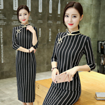 Elegant Chinese New style autumn long-sleeved mid-length Cheongsam (1716)