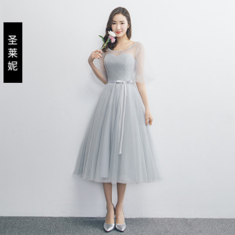 Elegant gray New style banquet bridesmaid dress evening dress (B) (B)