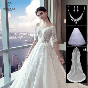 Elegant Korean style wedding veil dress bride New style half-sleeve shirt (White Qi to (new special))