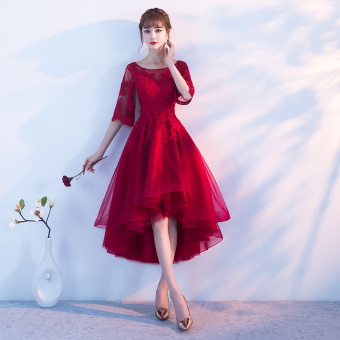 Elegant princess female New style banquet bridesmaid dress small evening dress (Wine red color [before short after long]) (Wine red color [before short after long])