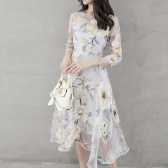 Elegant Women Organza Floral O-Neck Long Party Dress - 3