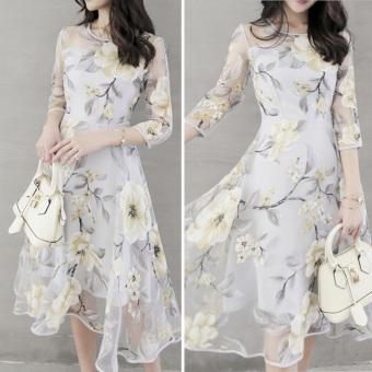 Elegant Women Organza Floral O-Neck Long Party Dress - 2