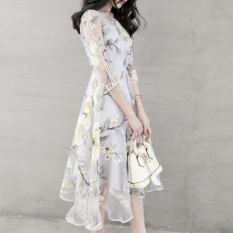 Elegant Women Organza Floral O-Neck Long Party Dress - 5