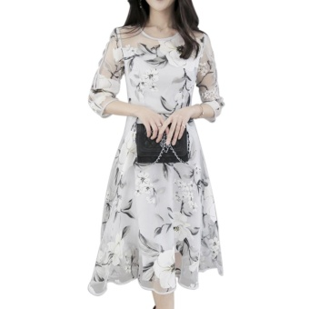 Elegant Women Organza Floral O-Neck Long Party Dress 3/4 Sleeve XL - intl