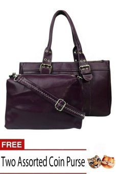 Elena 6021 Shoulder Bag with Sling Bag (Purple) with Free Assorted Coin Purse Set of 2