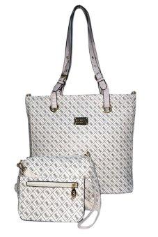 Elena 6048 Shoulder Bag with Sling Bag and Wallet (White)