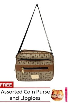 Elena 622 Sling Bag (Beige) with free assorted coin purse and lipgloss
