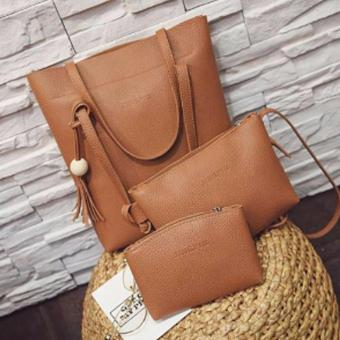 Elena K033 Shoulder Bag with Sling Bag and Pouch (Brown)