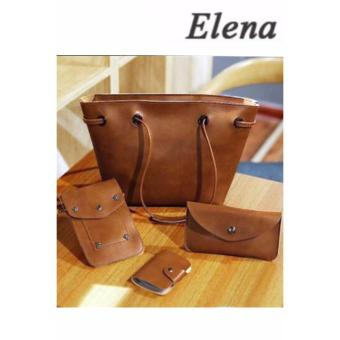 Elena K039 Pebbled Leather Shoulder Bag 4 in 1(Brown) BUY1 TAKE1 - 2