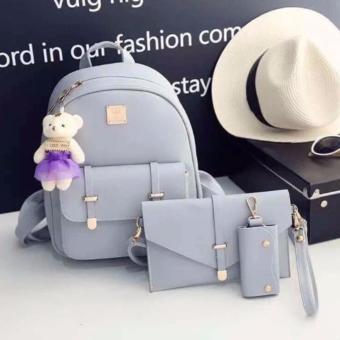 Elena Women's Backpack Korean Teenager Bear Handbags Bagpack (Grey)