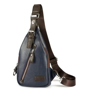 Elite Men Sling Bag / Crossbody Bag / PU Leather Bag - Zipper Blue