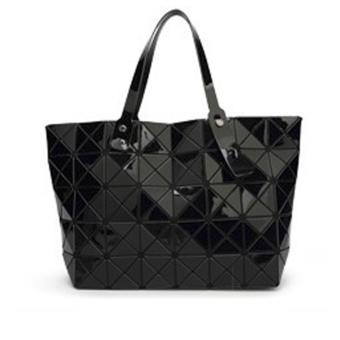 Elite Top Handle Bag / Folded Geometric Plaid Bag / Bao Bao DesignBag - Black (L)