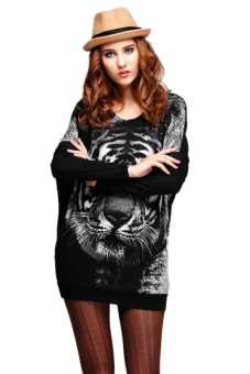 Embroidered Tiger Head Pullovers Sweater (Black) - picture 2