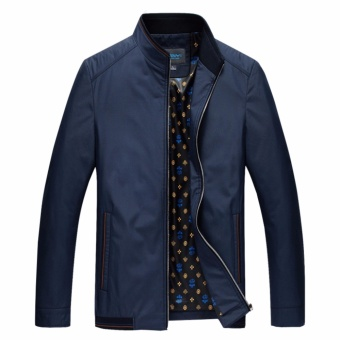 Encontrar Men Solid Casual Bomber Jackets for Dad M-4XL (Navy Blue) - intl
