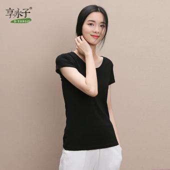 Enjoy Permanent sub casual cotton solid color Slim fit Top T-shirt (Black)