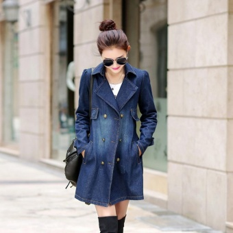 EOZY 2017 New Fashion Women's Denim Jacket Korean Style Spring Autumn Female Lapel Long-sleeved Double Breasted Slim Long Jacket Wind Coat Overcoat Outerwear (Blue) - intl