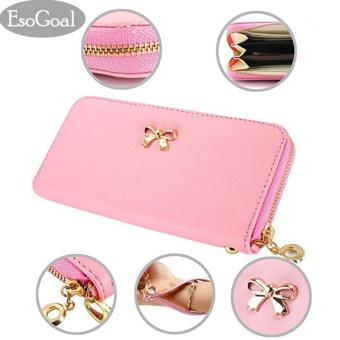 EsoGoal 2017 Fashion Lady Women Clutch Leather Long Wallet Card Holder Purse Bow Handbag (Pink