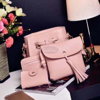 EsoGoal Women's PU Leather Handbag+Shoulder Bag+Purse+Card Holder 4pcs Set Tote Pink - intl - 2