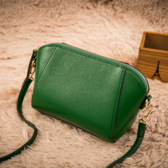 European and American first layer of leather New style women's bag shoulder bag (Green large)
