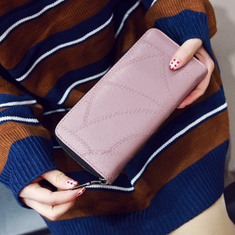 European and American knitted New style zip wallet women's wallet (Pink)