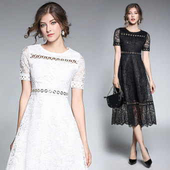 European and American porous lace mid-length elegant dress A-line dress (Black)