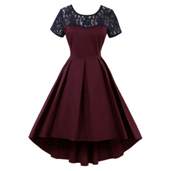 European and American short sleeved lace irregular small dress (Wine red color)