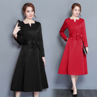 European and American solid color autumn New style debutante elegant dress (Red)