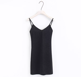 European and American style bright silk solid color Slim fit dress Dungaree dress (Black)
