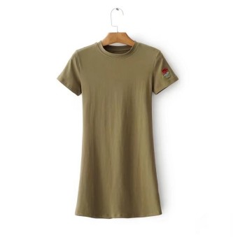 European and American style New style Slim fit round neck short sleeved dress (Dark green color)