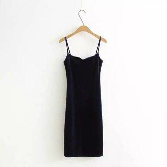 European and American style Swan Velvet after slit Slim fit skirt velvet dress (Dark blue)